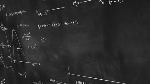 math physics formulas on chalkboard panning loop Stock Video Footage