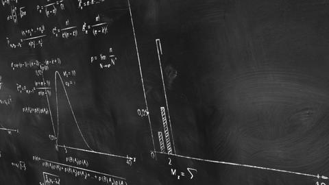 Math Physics Formulas On Chalkboard Panning Loop stock footage