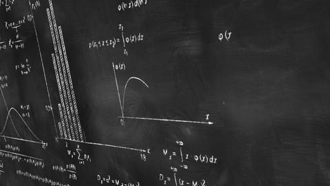 math physics formulas on chalkboard panning loop Stock Video Footage