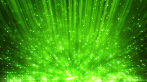 green light beams and rising blinking particles lo Stock Video Footage