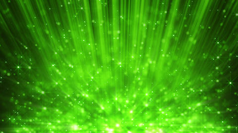 green light beams and rising blinking particles lo Animation