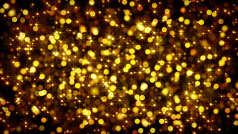gold bokeh circles and stars loop Stock Video Footage