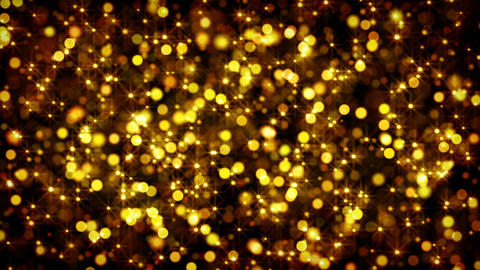 gold bokeh circles and stars loop Animation
