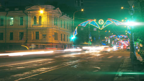 night city traffic on crossroad with festive illum Stock Video Footage