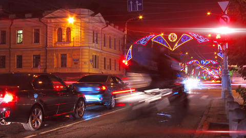 night city traffic on crossroad with festive illum Footage