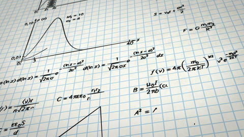 math physics formulas on squared paper tilting loo Stock Video Footage