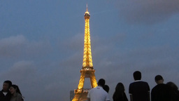 Visitors enjoying the lights and laser beam of Eiffel Tower, Paris, France Footage