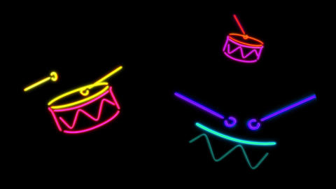 neon Drum Stock Video Footage