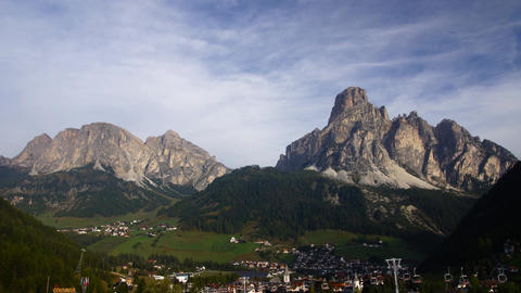 Village In Italian Alps, Dolomites stock footage