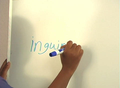 "Beautiful Nurse Writes ""Inguinal Hernia"" on a White Board... Stock Video Footage"