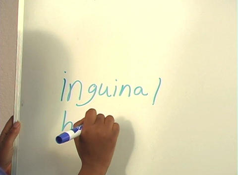"Beautiful Nurse Writes ""Inguinal Hernia"" on a White Board (close-up) Footage"