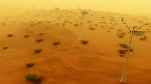 (1121) Electric Power Wind Turbines in Desert Sand Storm... Stock Video Footage
