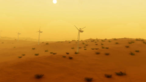 (1121) Electric Power Wind Turbines in Desert Sand Storm Aerial Animation