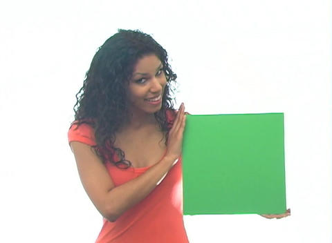 Beautiful Latina with Green Card-1b Stock Video Footage