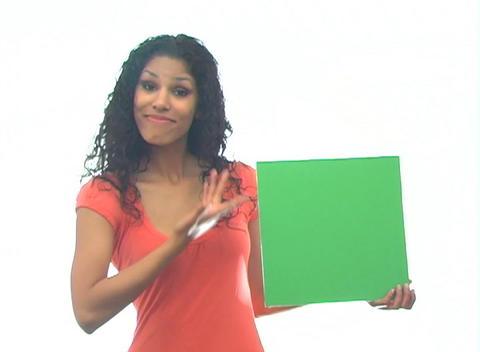 Beautiful Latina with Green Card-1b Stock Video Footage