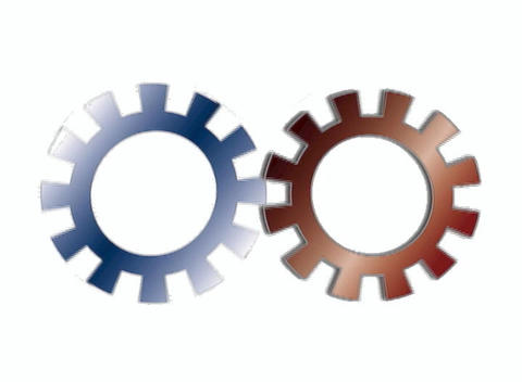 Pair of Rotating Gears Animation