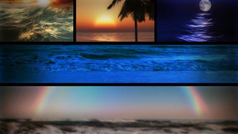 (1127) Beach Ocean Surf and Sunsets Looping Composition Stock Video Footage