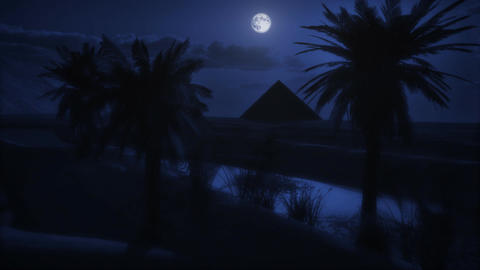(1122) Desert Sand Sunset Full Moon Pyramid Oasis LOOP Stock Video Footage