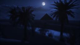 (1122) Desert Sand Sunset Full Moon Pyramid Oasis LOOP Animation