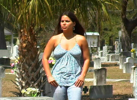 Beautiful Brunette in a Cemetery-2 Stock Video Footage