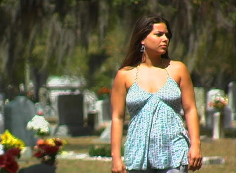 Beautiful Brunette in a Cemetery-4 Stock Video Footage