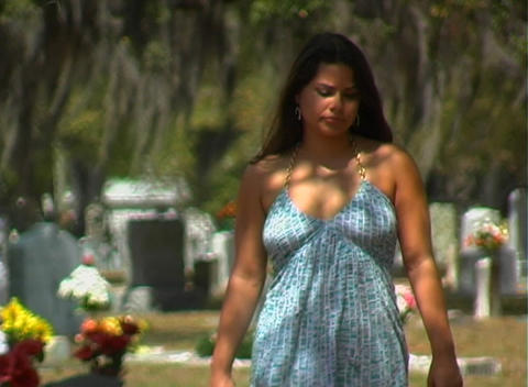 Beautiful Brunette in a Cemetery-4 Footage