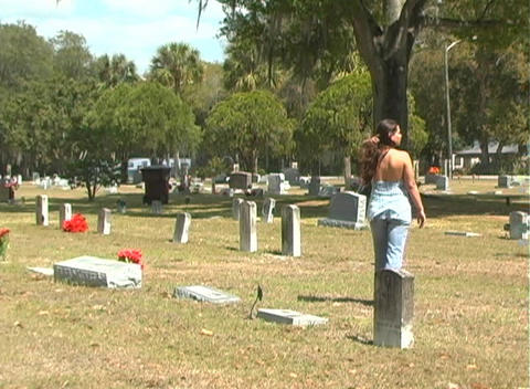 Beautiful Brunette in a Cemetery-6 Stock Video Footage