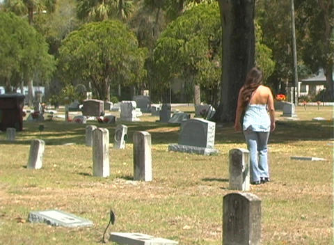 Beautiful Brunette in a Cemetery-6 Footage