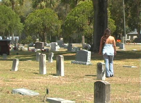 Beautiful Brunette in a Cemetery-6 Footage