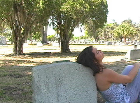 Beautiful Brunette in a Cemetery-8 Footage