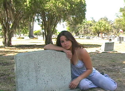 Beautiful Brunette in a Cemetery-10 Footage