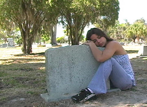 Beautiful Brunette in a Cemetery-11b Stock Video Footage