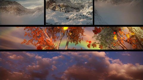 (1129) Sky Clouds Mountains Sunsets and Seasons... Stock Video Footage