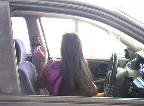 Beautiful Brunette Enters Her Car-2b Stock Video Footage