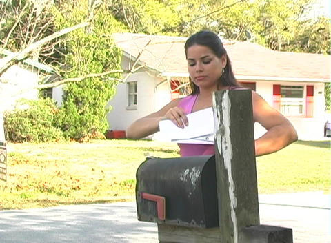 Hot Brunette Gets her Mail-3b Stock Video Footage
