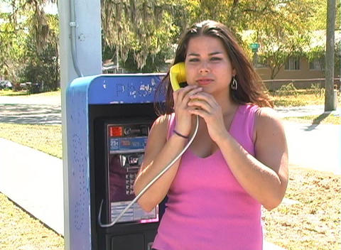 Beautiful Brunette on a Pay Phone-4a Footage