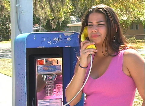 Beautiful Brunette on a Pay Phone-5 Stock Video Footage
