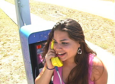 Beautiful Brunette on a Pay Phone-7 Stock Video Footage