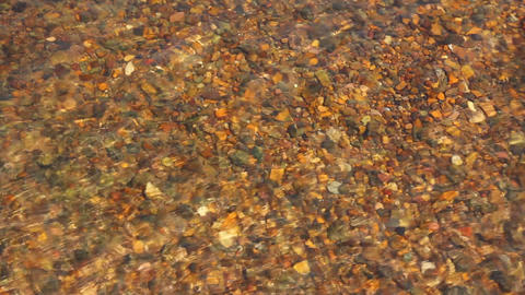 transparent river water in shallow with pebbles Footage
