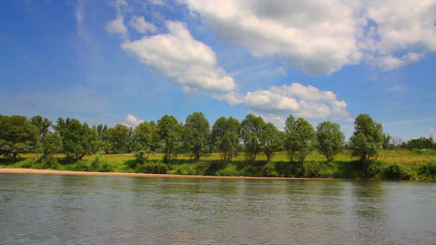 summer pan landscape with river Stock Video Footage