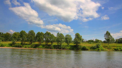 summer pan landscape with river Footage