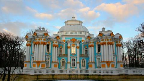 The ancient building in Pushkin Park, Tsarskoye Se Stock Video Footage