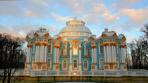 The ancient building in Pushkin Park, Tsarskoye Se Stock Video Footage