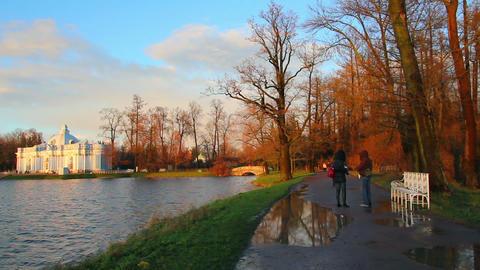 pond in Pushkin Park, Tsarskoye Selo, St. Petersbu Stock Video Footage