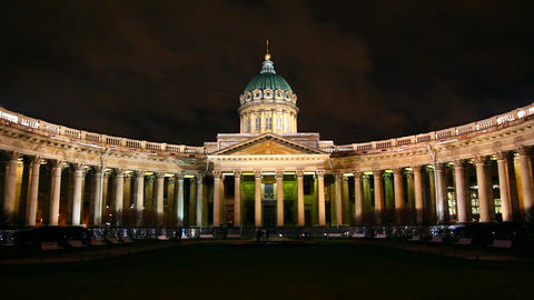 Kazan Cathedral at night in St. Petersburg - timel Footage
