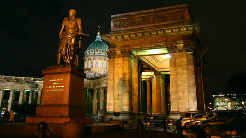 Kazan Cathedral at night in St. Petersburg Footage