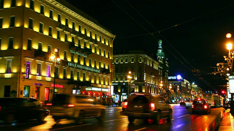 Nevsky Prospect in St. Petersburg at night - timel Stock Video Footage