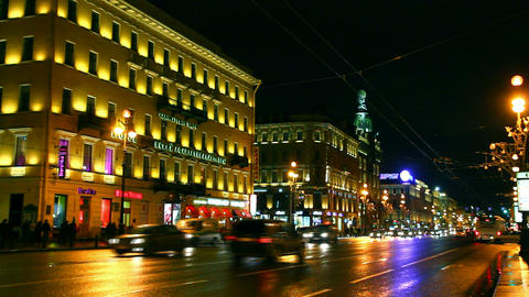 Nevsky Prospect in St. Petersburg at night - timel Footage