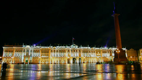 The Hermitage - Winter Palace in St. Petersburg at Stock Video Footage