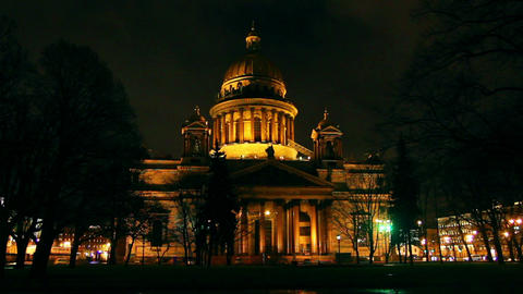 isaakiy cathedral dome at night, Saint-petersburg, Footage